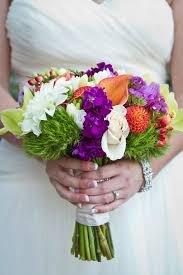 coral and purple wedding flowers