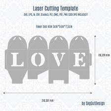 wedding favor box template love laser cutting commercial use