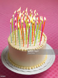 Birthday Cake with many Candles Stock