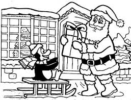 A Santa Claus Gives Special Gift To The Penguin Coloring Pages