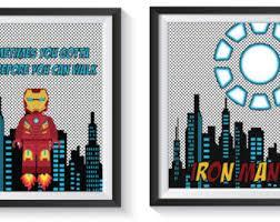 Vintage Superhero Wall Decor by Iron Man Print Etsy
