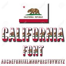 California USA State Flag Font Alphabet Stylized By Vector Typeset Stock