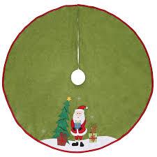 Holiday Living 40 In Green Felt Santa Christmas Tree Skirt
