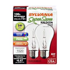 sylvania saver 72 watts halogen clear light bulbs 2 0 ct