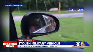 Stolen Military Vehicle Leads Virginia Police On Chase - YouTube
