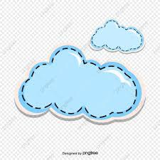 100 Flat Cloud Blue Handpainted Illustration Style S
