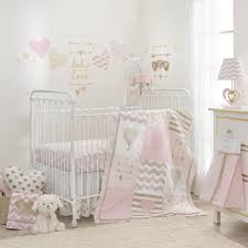 Lambs & Ivy R Baby Love Pink Gold Heart 4 Piece Crib Bumper