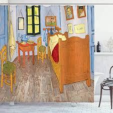 abakuhaus duschvorhang künstler gemälde zeichnungen vincent gogh schlafzimmer in der arles reproduktion druck blickdicht aus stoff mit 12