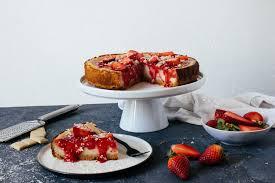 veganer new york cheesecake mit erdbeeren weißer schokolade