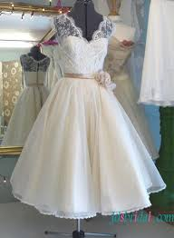 H1580 Vintage Illusion Lace Top Tea Length Organza Wedding Dress
