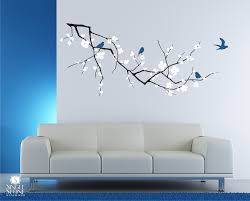 Simple Design Tree Branch Wall Decor Cherry Blossom Decal With Birds Vinyl