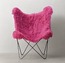 Tye Fuchsia Kashmir Faux Fur Butterfly Chair