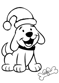 Cute Puppies Coloring Pages Wearing Santa Hat