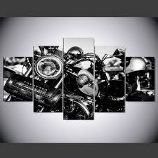 Image Is Loading Harley Davidson Motorcycle 5 Piece Canvas Wall Art