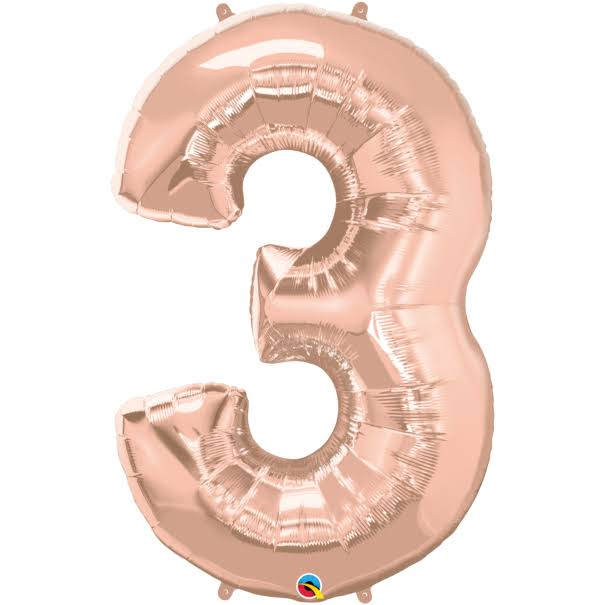"Qualatex Rose Gold 34"" Number 3 Supershape Foil 