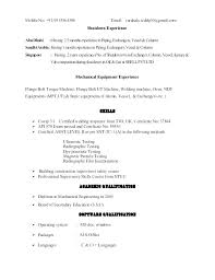 Ndt Technician Resume Example Piping Inspector Sample Best