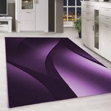 designer teppich modern kurzflor abstrakt wellen muster schwarz lila weiß teppium teppich market