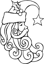 Santa Face Colouring In Free Coloring Christmas Pages
