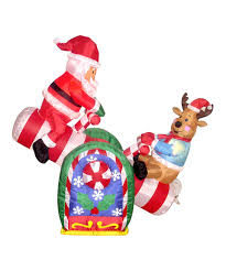 Grinch Blow Up Yard Decoration by Take A Look At This Animated Santa Claus U0026 Reindeer Inflatable