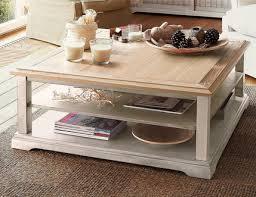 table basse carrée berling blanc patiné prix promo la maison de