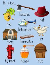 Many words for letter H stock vector Illustration of phonetics