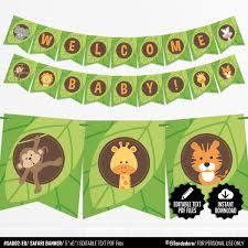 Safari Baby Shower Banner Jungle Theme Bunting Banner Printable Pennant Garland Safari Gender Neutral Baby Shower Decoration Editable