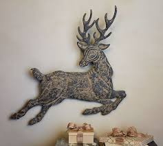 Pottery Barn Metal Wall Decor by Leaping Metal Reindeer Wall Art Pottery Barn