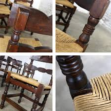 4 Colonial Style Dining Chairs With Rush Seats Stamped Hecho ...