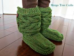 mango tree crafts knitted slipper boots