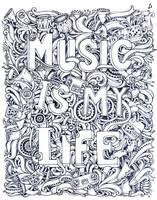 Adult Coloring Page Tattoo Musical Notes