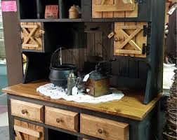 Primitive Furniture Rustic Farmhouse Kitchen Cabinet Hutch Stepback Country Barn Doors Side Board