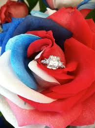Wedding Military Tacori Ring In Red White Blue Rose