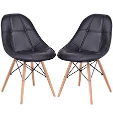100 Black Leather Side Dining Chairs Giantex Set Of 2 Chair Modern Armless PU Seat