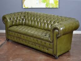 Green Leather Sofa Luxury Vintage English Olive Chesterfield At