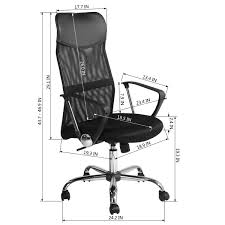 Furniture R Executive Mesh Office Chair High Back Adjustable Height Swivel  Chairs Armrests (Black)