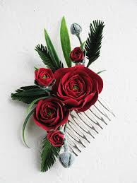 Red Rose Flower Hair Comb Green Leaves Bridal Jewelry Wedding Bridesmaid Gift Rustic
