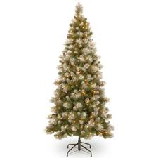 Snow Capped Mountain Slim 90 Green Pine Artificial Christmas Tree With 400 Clear Lights And Stand