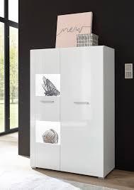 highboard corado 80cm weiß hochglanz vitrine wohnzimmer modern kommode