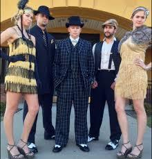 Groom Groomsmen Themed Wedding Attire 1920s Boardwalk Empire Theme