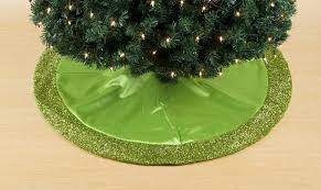 Trim A HomeR Lime Green Satin Tree Skirt With Tinsel Knit Border 48 In