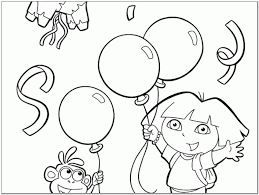Dora Coloring Pages Happy Birthday Pictures Reference Online