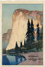 Woodblock Print Of American Landmark El Capitan In Yosemite National Park Japan 1925