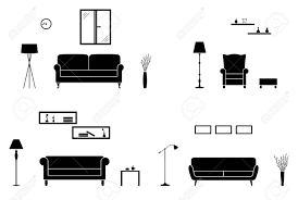 Home Interior Pics Home Interior Icon Set Black And White Living Room Silhouette