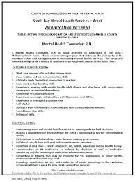 Mental Health Clinician Cover Letter Sample Counselor Resume Therapist Samples