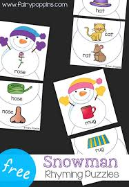 Free Snowman Rhyming Puzzles Fairy Poppins