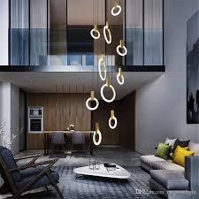 großhandel nordic minimalist ringe pendelleuchte arcylic kreis holz led ringlicht luxushotel raum wohnzimmer cafe light fixture rwgrowlight