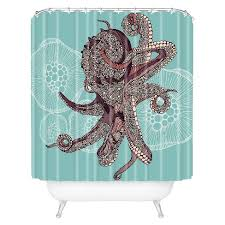 Octopus Bloom Shower Curtain Teal Deny Designs Tar