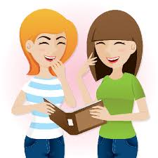 Cartoon Teenage Girls Laughing With Magazine Clipart The Arts Rh Pbslearningmedia Org People Clip Art Black And White