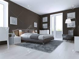 moderne schlafzimmer design taupe matt wände doppel gekleidet bett und zugang zum balkon 3d übertragen