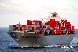 100 Shipping Containers San Francisco Vessel SAN FRANCISCO BRIDGE Container Ship IMO 9560364 MMSI 355400000